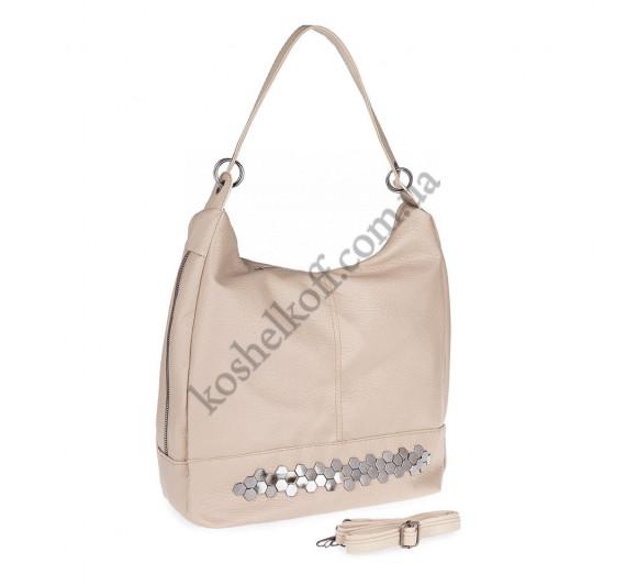 Женская сумка через плечо бежевая 5605 B-R-N (Турция)