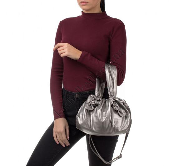 Сумка женская с кулиской Goodyfun GF-8530 серебристая