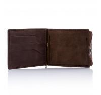 Кожаный кошелек-зажим для денег и карточек Dezzle 2608 темно- коричневый
