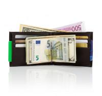 Мужской кожаный кошелек портмоне с зажимом KAFA коричневый