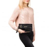 Женская сумочка клатч через плечо черная 2051
