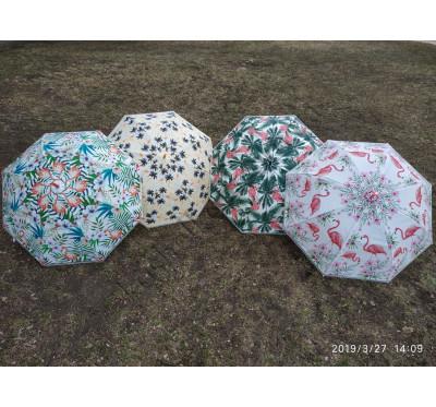 """Изысканный женский силиконовый  зонт-трость """"Фламинго"""" 1339"""