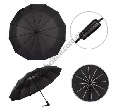 Зонт мужской складной Parachase 12 спиц, полный автомат, система антиветер 3260 black