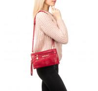 Женская сумочка клатч через плечо красная 2051