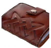 Кожаная визитница кредитница Dezzle коричневая, ручная работа, 20 вкладышей (2611 coffee)