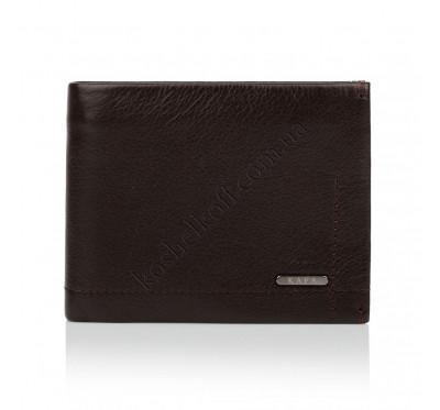Мужской кожаный кошелек портмоне с зажимом KAFA темно-коричневый