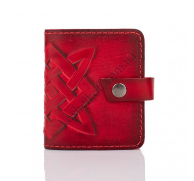 Кожаная визитница кредитница Dezzle красная, ручная работа, 20 вкладышей (2611 red)