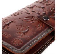 """Большой кошелек из натуральной кожи Dezzle """"Этно"""" коричневый, 23 отделения (2601t brown)"""