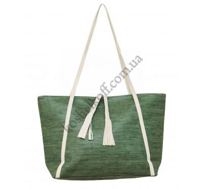Женская вместительная  сумка P142 зеленая