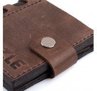 Портмоне кожаное на кнопке Dezzle 2606 темно-коричневое