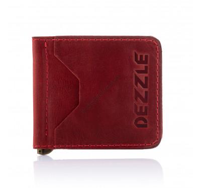 Кожаный ультратонкий кошелек-зажим для денег на магните Dezzle 2603 красный
