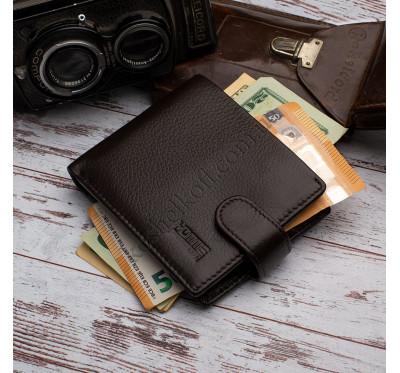 Кожаный мужской кошелек на кнопке Kafa 22-538-cof