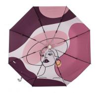 """Зонт женский складной полный автомат с рисунком внутри купола KAFA 2321 """"Модница"""""""