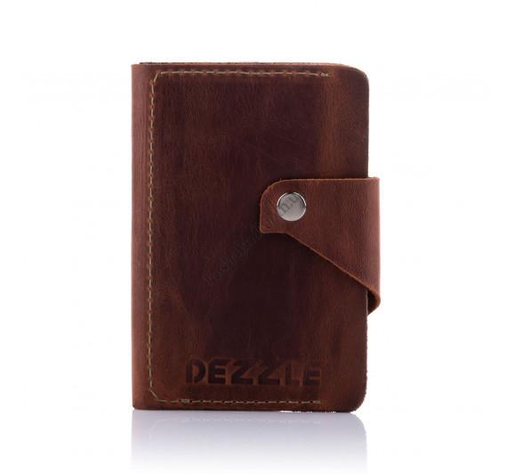 Кошелек кожаный большой вертикальный Dezzle 2607 коричневый