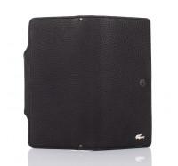 Мужской кожаный кошелек купюрник Hers черный, 18 отделений (110 croco)