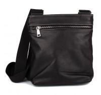 Кожаная мужская сумка через плечо черная 019