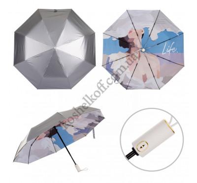 """Зонт женский складной полный автомат с рисунком внутри купола KAFA 2320 """"Life"""""""