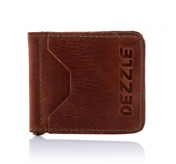 Кожаный ультратонкий кошелек-зажим для денег на магните Dezzle 2603 коричневый