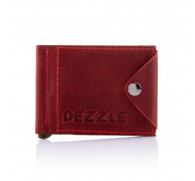 Кожаный кошелек-зажим для денег и карточек Dezzle 2608 красный