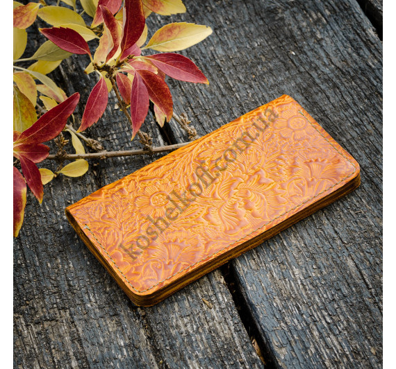 Женский кошелек Dezzle из натуральной кожи с тиснением желтый