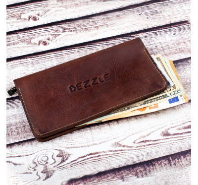 Портмоне кожаное на кнопках  Dezzle 2602 коричневое