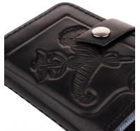 Кожаная визитница кредитница Dezzle черная, ручная работа, 20 вкладышей (2611 r black)