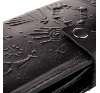 """Большой кошелек из натуральной кожи Dezzle """"Этно"""" черный, 23 отделения (2601t black)"""