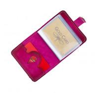 Кожаная визитница кредитница Dezzle розовая, ручная работа, 20 вкладышей (2611 r pink)