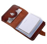 Кожаная визитница кредитница Dezzle коричневая, ручная работа, 20 вкладышей (2611 r coffee)