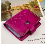 Кожаная визитница кредитница Dezzle розовая, ручная работа, 20 вкладышей (2611 pink)
