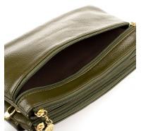 Женская сумочка-клатч через плечо зеленая 2025