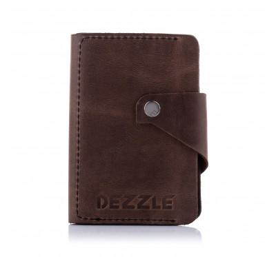 Кошелек кожаный большой вертикальный Dezzle 2607 темно-коричневый
