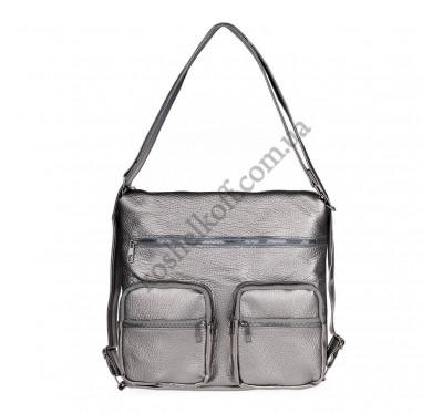Женская сумка через плечо серебристая B-R-N 5604 (Турция)