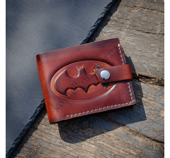 """Кошелек кожаный мужской ручной работы KAFA 2604t """"Бэтмен""""  коричневый"""