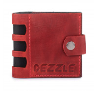 Портмоне кожаное на кнопке Dezzle 2606 красное