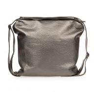Женская сумка-рюкзак через плечо B-R-N серебристая (Турция)
