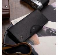 Мужской кожаный кошелек купюрник Hers черный, 18 отделений (110 pp)
