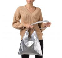 """Женская сумка планшет через плечо Goodyfun GF-8386 """"Квадрат"""" серебристая"""