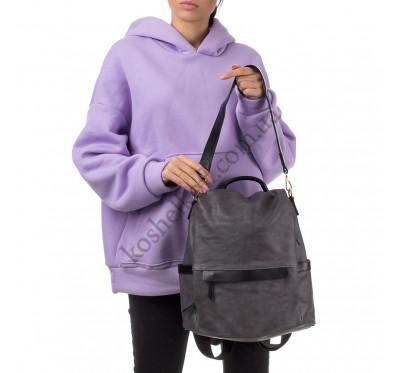 Женский городской рюкзак-сумка Goodyfun GF-8366 темно-серый