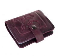 Кожаная визитница кредитница Dezzle фиолетовая, ручная работа, 20 вкладышей (2611 r purple)