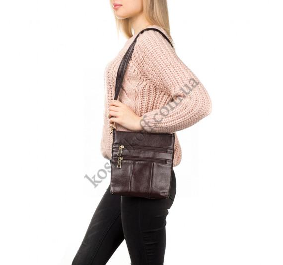 Женская сумка-планшет через плечо 0016 коричневая