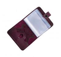 Кожаная визитница кредитница Dezzle фиолетовая, ручная работа, 20 вкладышей (2611 purple)