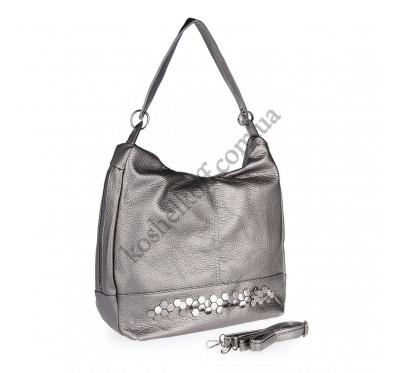 Женская сумка через плечо серебристая 5605 B-R-N (Турция)