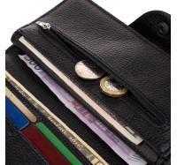Мужской кожаный кошелек купюрник Hers черный, 18 отделений (110 bull)