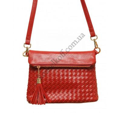Женская плетеная сумка через плечо 5511(красная)