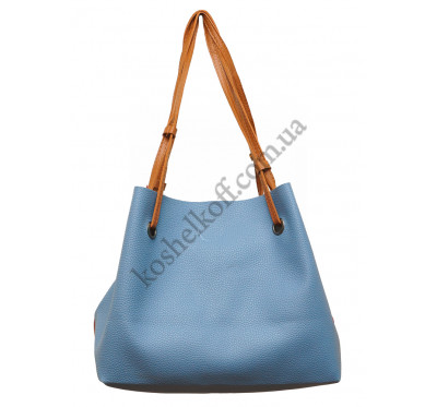Женская большая двухцветная  сумка P156 (сине-красная)