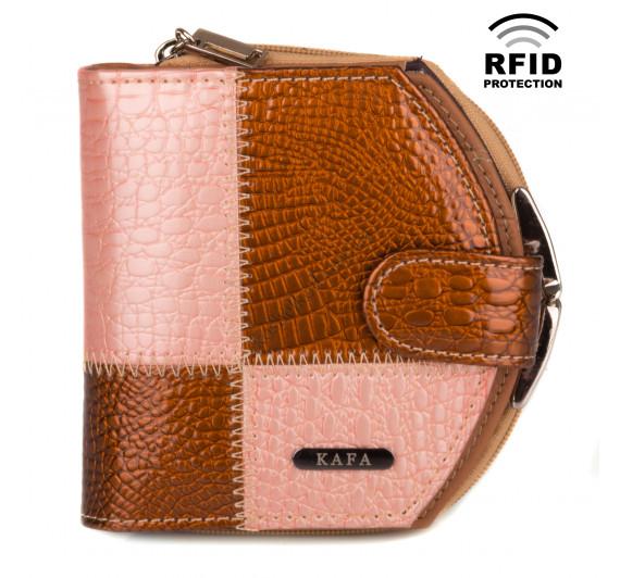 Кошелек женский кожаный Kafa с RFID защитой (AE1869 gold -orange)