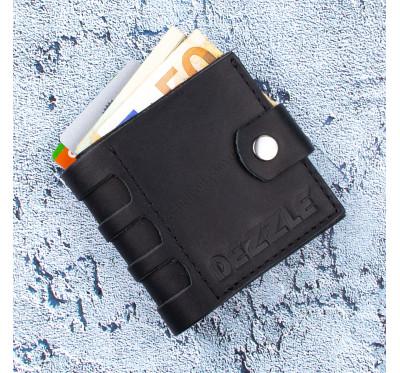 Портмоне кожаное на кнопке Dezzle 2606 черное