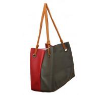 Женская большая двухцветная  сумка P156 (графитно-красная)