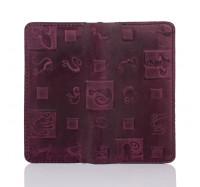 """Кошелек из натуральной кожи Dezzle с тиснением""""Кошки"""" фиолетовый,  (2602 cat purple)"""